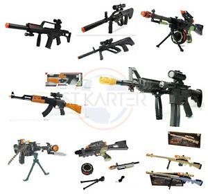 Combat Toy Gun AK47 Kids Army Military Rifle Machine Gun Lights Vibration Sound