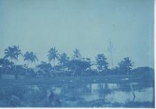 Madagascar, Village indigène  Vintage print. cyanotype  12x17  Circa 1895