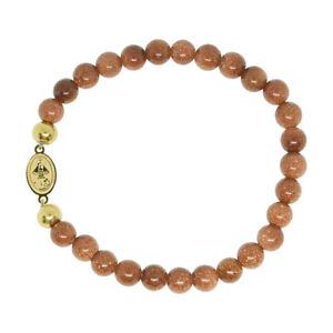 Religious Catholic Bracelet SS Caridad del Cobre medal Venturina beads SSBCMVS-6