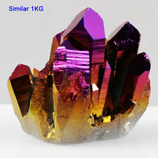 1KG SALE Titanium Purple Golden Cluster Aura Quartz Crystal Point Healing
