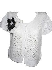 NINE WEST Womens Vtg White Crochet Thin Knit Short Sleeve Crop Cardigan sz L X80