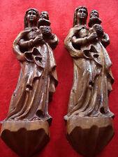 Madonna Maria mit Jesuskind Holz handgeschnitzt geschnitzt 2 stück