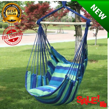 New! Swing Hanging Rope Hammock Chair Swing Seat + 2 Pillows [Best Price]