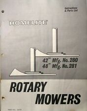 Homelite T-10 12 15 16 Garden Tractor Mower Implement Owner & Parts Manual 12pg