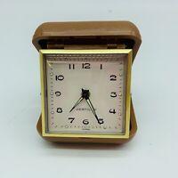WESTCLOX Brown Plastic Case Vintage Wind Up Travel Alarm Clock 1960s