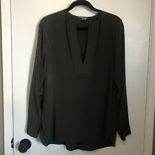 Vince Silk Blouse 8 Brown Top V Neck Long Sleeve Womens Tunic