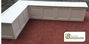 """60"""" x 60"""" Corner Banquette- Corner Bench UNFINISHED Storage Bench"""