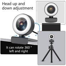 USB Kamera HD 2K Webcam Mit Ringlicht Mikrofon für PC Laptop Computer Mac
