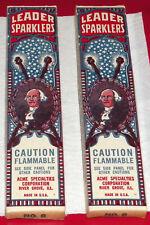 "Nos 2 Vintage Boxes ""Leader Sparklers"" Acme Specialties George Washington-Nice!"