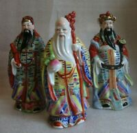 VINTAGE CHINESE EXPORT Hand Painted 3 STARS Immortals Porcelain Figures 1950-70!