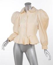 YVES SAINT LAURENT Ivory VINTAGE Cotton Wool Peter Pan Collar Peplum Jacket 36/4