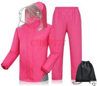 New Fashion Womens/Mens Waterproof Hooded Rain Coat Pants Motorcycle Rain Suits