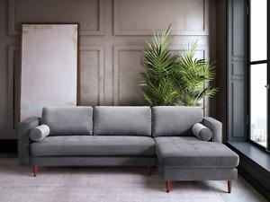 "SALE Mid-Century 100"" Wide Gray Velvet Sectional Modern Contemporary Living Room"