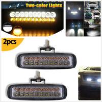 "2 Pcs 6"" Super Bright 18LED 54W Dual Color Car Work Lights 5400LM Fog Lamps DRL"