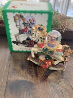Vintage Rocking Horse Christmas Decoration W/ Snow Globe Favorite Things W/Box