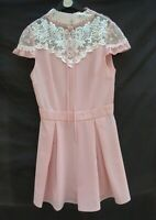 Shein peachy pink crepe feel/high neck lace trim playsuit Label XS Size 6