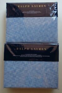 Ralph Lauren Veronique Lillie Blue Cotton Cal King Fitted + Flat Sheet Set 2 PC