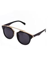 Classic Women's Round Cateye Black Frame Vintage Mirror Sunglasses
