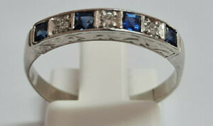 18CT WHITE GOLD SAPPHIRE AND DIAMOND LADIES ETERNITY RING SIZE O 2.91gms