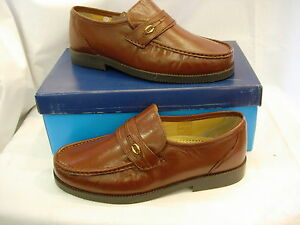 M478 TAN LEATHER GENTS MENS LIGHT BROWN SLIP ON WIDER FIT SHOES SIZE 6 7 8 9 10
