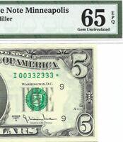 1977A $5 MINNEAPOLIS *STAR* ⭐️ FRN, PMG GEM UNCIRCULATED 65 EPQ BANKNOTE, SCARCE