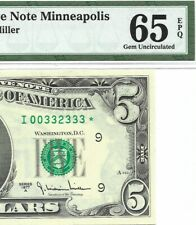 1977A $5 MINNEAPOLIS *STAR* ⭐️ FRN, PMG GEM UNCIRCULATED 65 EPQ BANKNOTE, SCARCE