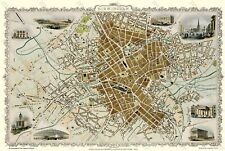 "OLD MAP OF BIRMINGHAM 1851 BY JOHN TALLIS 30"" x 20"" PHOTOGRAPHIC PRINT"