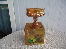 Carnival Glass Wedding Bowl Iridescent Gold Kings crown indiana glass box dish