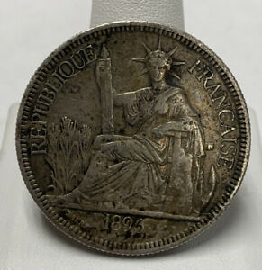 1896 Silver French Indo China 1 Piastre 27 Gr .900