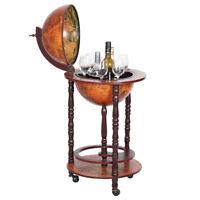 Globe Wine Liquor Bar Rack Cabinet Nautical Old Italian Style Globe/Map Mini Bar