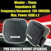 120 Watt Car Motorhome Boat Truck HGV Van Pod Shelf Surface Mount Speakers X 2