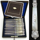 """Antique French Sterling Silver & Mother of Pearl 12pc 8"""" Table Knife Set, Box"""