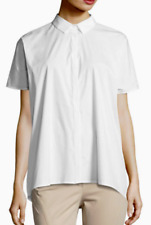 Antonelli Ancona Short-Sleeve Pleated-Back Shirt White L, 44 IT NWT $378