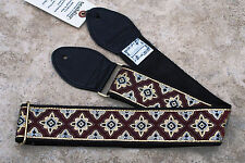 SOULDIER Guitar Strap REGAL MAROON Gold Silver / Vintage Style Woven Tapestry