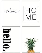 4er Set DIN A4 Poster schwarz weiß Deko Wohnbereich Wohnzimmer Küche Ananas