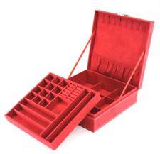 Bright Red Jewelry Organizer Two-Layer Box Carry Soft Felt Storage Case Display