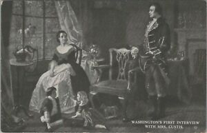 Vintage postcard, Washington's first interview with Mrs. Curtis