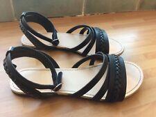 Girls Us 4 Shoes Sandals Black Strap Sun Beach H&M Gladiator Roman Buckle Smart