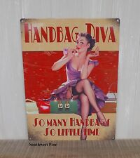 Large Retro Vintage Hand Bag Diva Metal Tin Sign-Wall Plaque