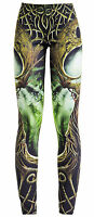 Black Brown Green GAIA forest printed stretchy LEGGINGS TROUSERS S M L 10 12 14