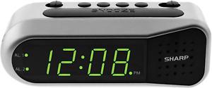 Sharp Electric Digital Dual Alarm Clock Battery Backup LED Large Display Snooze