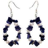 Pearl Lapis Lazuli Sterling Silver Drop Dangle Earrings Jewelry Gifts Women Mom