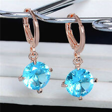 New Fashion 18K Gold Plated Shiny Cubic Zirconia Lady Dangle Earrings Hot 2018