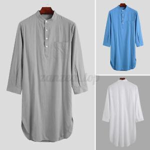Men's Cotton Linen Nightshirt Pajamas Kaftan Sleepwear Sleepwear Night Gown Top