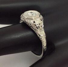 18K WHITE GOLD FILIGREE DIAMOND RING SIZE 6.5