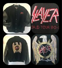 1990-91 World tour Jacket SLAYER Leather Sleeves BOMBER Coat Brockum XL Black