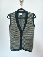 Vintage S St Michael 100% Wool Sweater Vest Knitted Waistcoat Sleeveless Small
