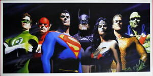 Justice League ORIGINAL SEVEN PRINT Alex Ross art Superman Batman Wonder Woman