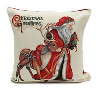 PEGGY WILKINS BEIGE RED MULTI RUDOLPH CUSHION COVER SANTA CHRISTMAS 17X1