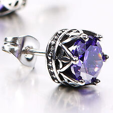 silver stud ss steel purple crystal SINGLE vintage style crown earring